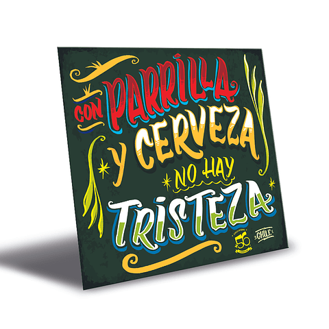 Cartel Parrilla-Cerveza +56