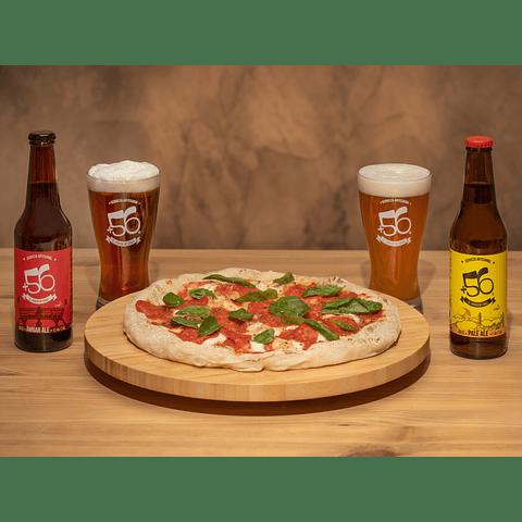 2 Pizzas (elige Margarita o Pepperoni) + 4 Cervezas Mixtas