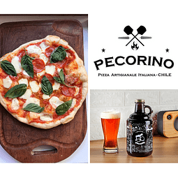 2 Pizzas (elige Margarita o Pepperoni) + 1 Growler +56 de 1 litro