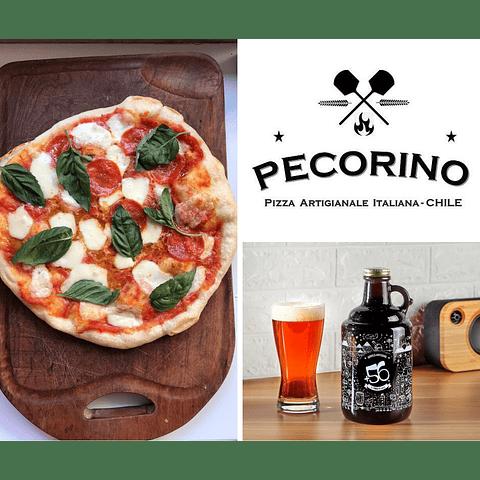 2 Pizzas (elige Margarita o Pepperoni) + 1 Growler +56 de 1 litro