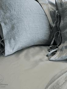 Funda almohada de lino con lazos