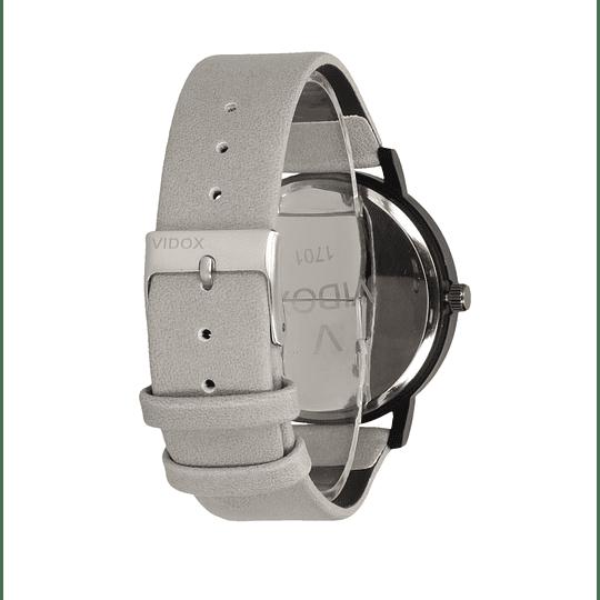 Relógio cinzento unisex com fundo madeira
