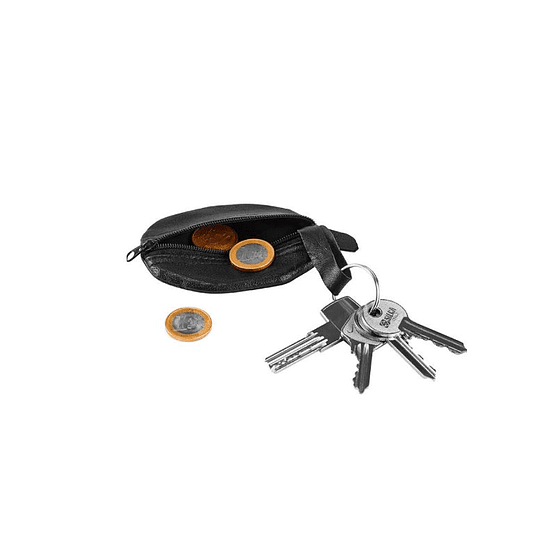 Porta chaves e moedas em pele Oval