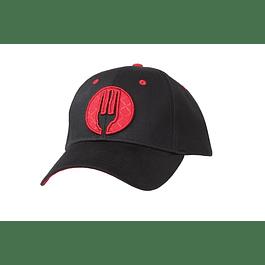 Gorro Jockey Negro Logo Rojo
