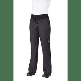 Pantalon Comfi Mujer Fine Stripe Negro