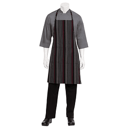 Pechera Stripe Negro & Blanco/Rojo