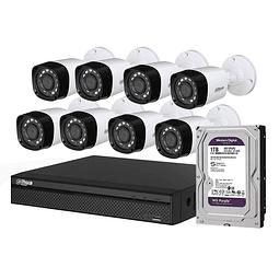 KIT CCTV 8 CÁMARAS AHD BULLET O DOMO PLÁSTICA720P + DISCO 1 TB