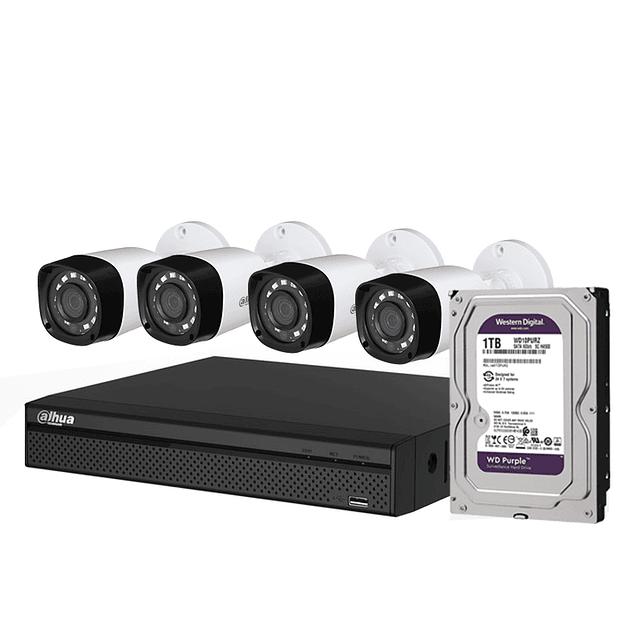 KIT CCTV 4 CÁMARAS AHD BULLET O DOMO PLÁSTICA 1080P + DISCO 1 TB