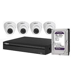 KIT CCTV 4 CÁMARAS AHD DOMO METÁLICA 1080P + DISCO 1 TB