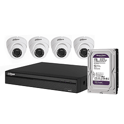 KIT CCTV 4 CÁMARAS AHD DOMO METÁLICA 720P + DISCO  1 TB