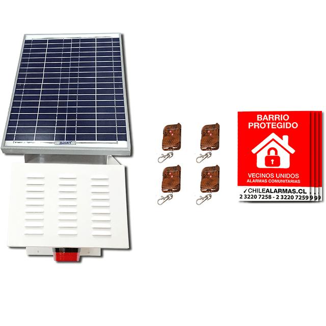 Kit Alarma comunitaria solar 15 Watts 110 DB  + 4 CONTROLES + 4 CARTELES