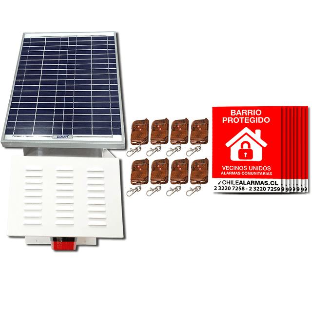 Kit Alarma comunitaria solar 20 Watts 118 DB  + 8 CONTROLES + 8 CARTELES