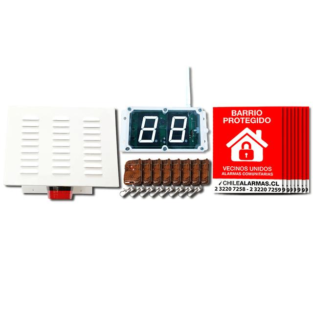 Kit Alarma Comunitaria 2 Tonos 20 Watts 118 DB + 8 controles + 8 carteles + 1 identificador