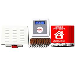 Kit Alarma comunitaria GSM 20 Watts 118 DB + 8 controles + 8 carteles