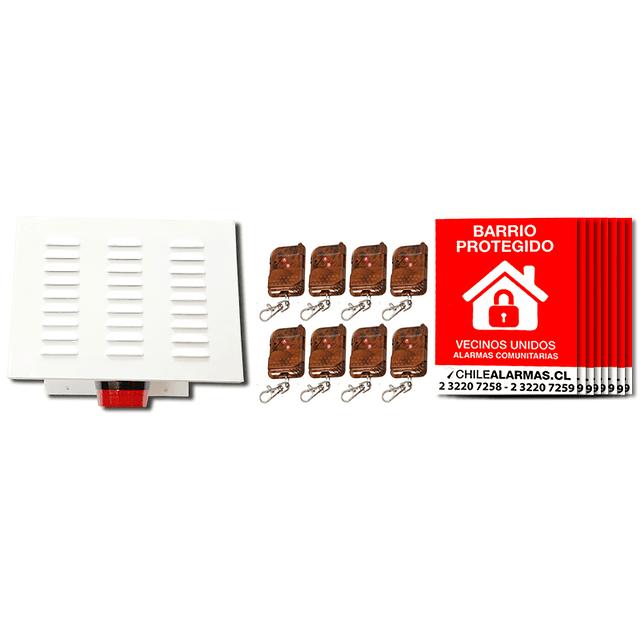 Kit Alarma comunitaria 2 tonos 30 Watts 118 DB gabinete metalico + 8 controles + 8 carteles