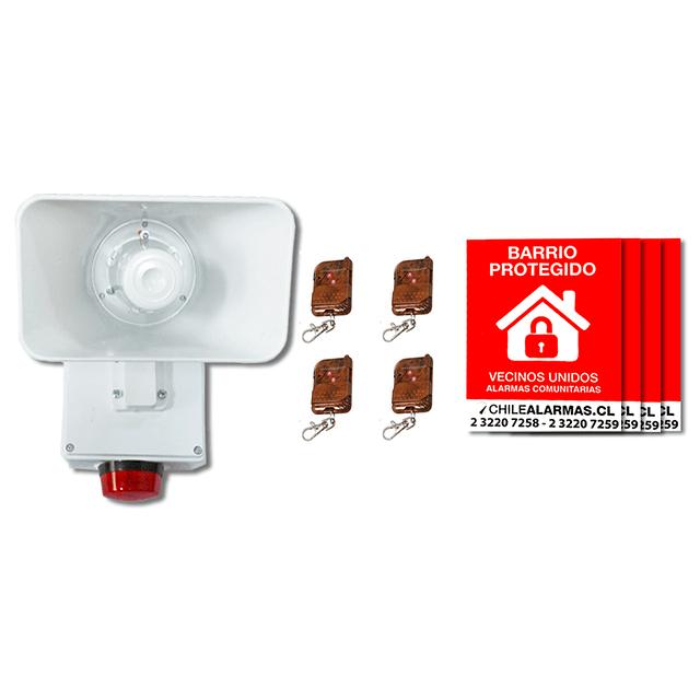 Kit Alarma comunitaria 1 tono 30 Watts 118 DB + 4 controles + 4 carteles
