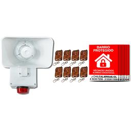 Kit Alarma comunitaria 1 tono 30 Watts 118 DB + 8 controles + 8 carteles