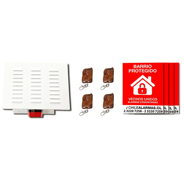 Kit Alarma comunitaria 1 tono 30 Watts 118 DB gabinete metalico + 4 controles + 4 carteles