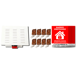 Kit Alarma comunitaria 1 tono 30 Watts 118 DB gabinete metalico + 8 controles + 8 carteles
