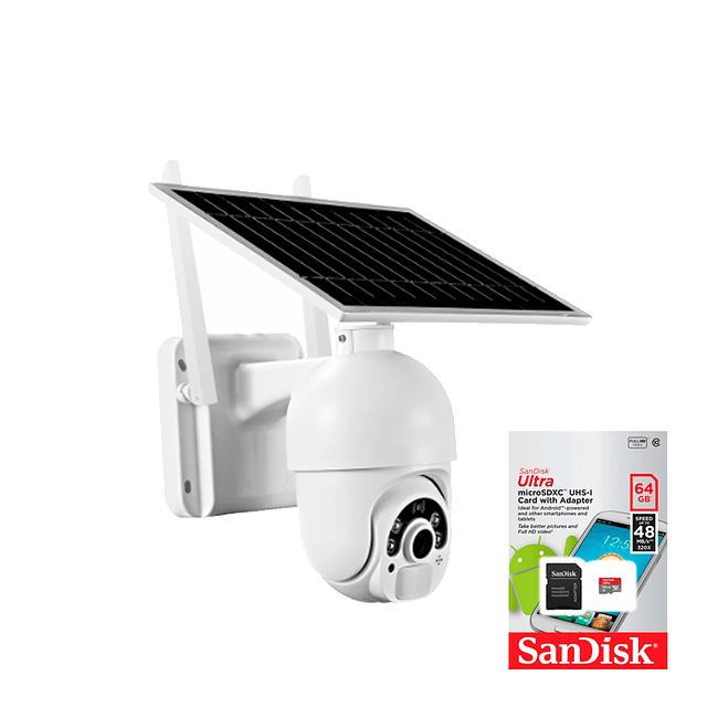 kit Cámara IP WiFi 2MP PTZ, Heimdall IR 20M Con panel solar 4G/LTE + memoria micro SD 64 GB