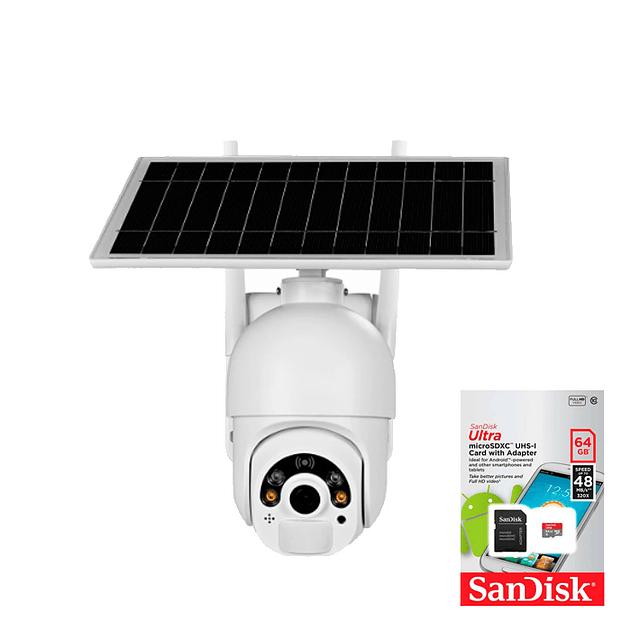 kit Cámara IP WiFi 2MP PTZ, Heimdall IR 20M Con panel solar separado 4G/LTE + Memoria micro SD 64 GB