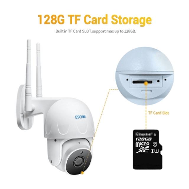 kit Cámara IP WiFi 2MP, Escam IR 20M PTZ IP66  + Memoria Micro SD 64 GB