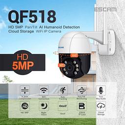 Cámara IP WiFi  5MP PTZ, Escam, IR 20M con detección de movimiento y seguimiento automático.