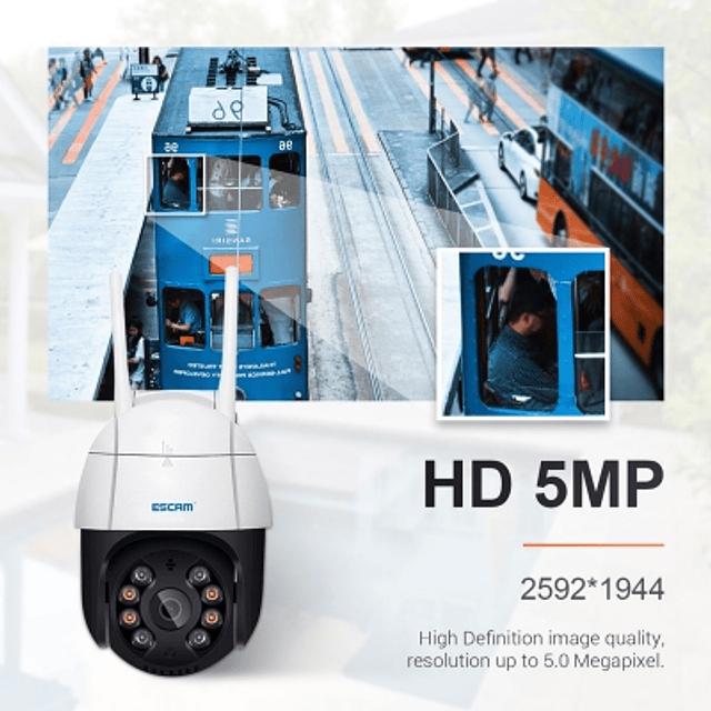 Kit Cámara IP WiFi  5MP PTZ, Escam, IR 20M con detección de movimiento y seguimiento automático + memoria micro SD 64 GB