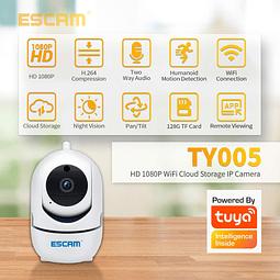 Kit Cámara IP WiFi  2MP, Escam  IR 20M 355° Y 110° motorizada con detección de movimiento y seguimiento automático + Memoria MIcro SD 64 GB
