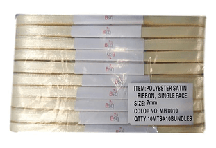 CINTA SATIN AMARILLO PALIDO BSQ 7 MM  X 100 MT