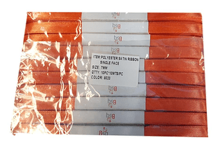CINTA SATIN NARANJA  BSQ 7 MM  X 100 MT