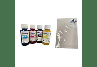 PACK SUBLIMACION TINTA 4 (BCYM) 100 CC/BOTELLA + RESMA A4