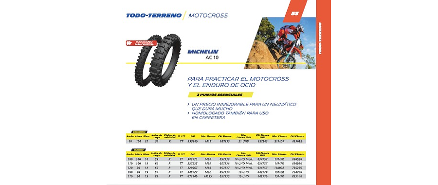 NEUMATICO 110/100R18 CROSS AC 10 MICHELIN