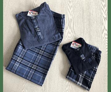 Pijama Escocés Azul Claro