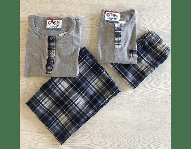 Pijama Escocés Gris-Azul
