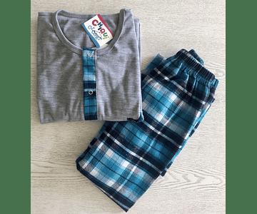 Pijama Escocés Gris-Agua Marina