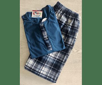 Pijama Escocés Azul Petróleo