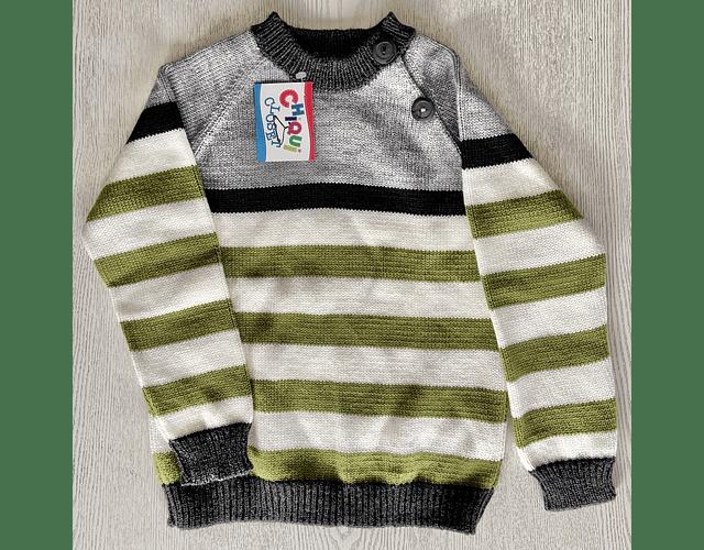 Sweater Combinado Cuatro Colores (gris, azul, blanco, verde)