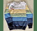 Sweater Cuello Redondo con Rayas Botones Decorativos