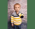 Sweater Combinado Cuatro Colores (gris, negro, blanco, amarillo)