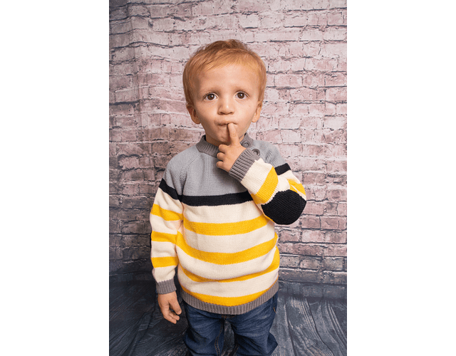 Sweater Combinado Cuatro Colores (gris, azul, blanco, amarillo)
