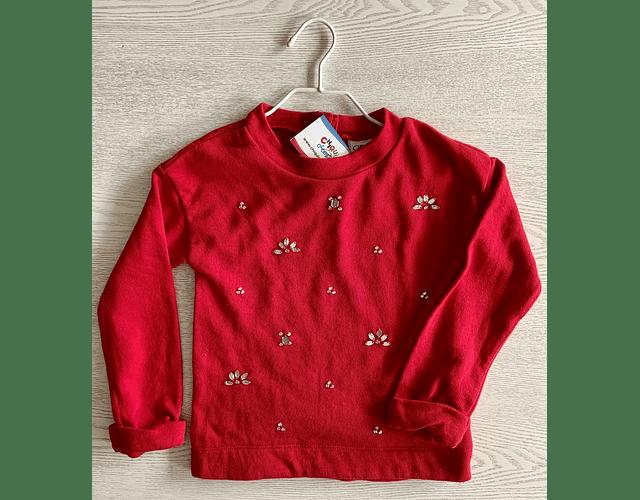 Sweater rojo cuello redondo