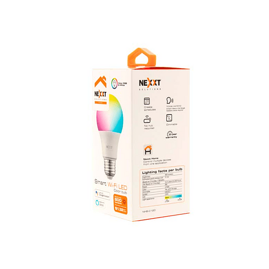 Nexxt Home Bombilla LED inteligente WIFI multicolor