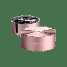 klipX cable retractil USB-C a USB-A 2.1 Amp cable plano rosa