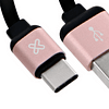 klipX cable retractil USB-C a USB-A 2.1 Amp cable plano rosa