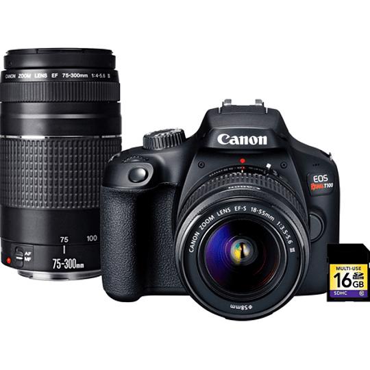Canon EOS Rebel T100 Premium Kit 2 Lentes