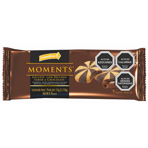 Moments Chocolate 135 gr x9 unidades