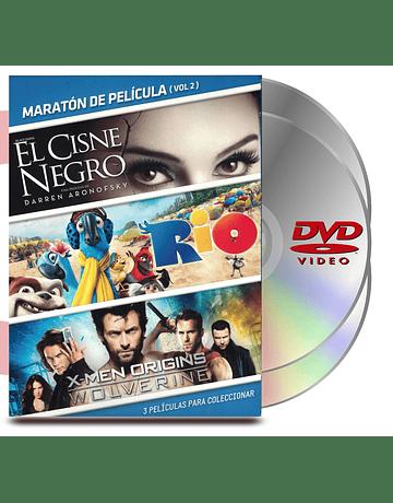 DVD Pack Maratón Vol :2 Cisne Negro /Rio/X Men