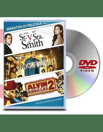 DVD Pack Maratón vol:5 Sr. y Sra. Smith/Una noche en el museo 1/Alvin y las ardillas 2