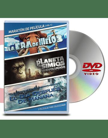 DVD Pack Maratón vol:1 La era del hielo 1/El planeta de los simios revolución/El día después de mañana